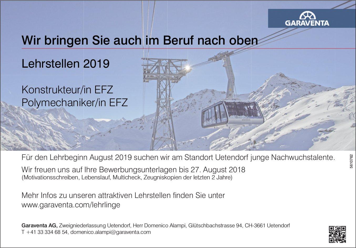 Lehrstellen 2019, Konstrukteur/in EFZ & Polymechaniker/in EFZ, Garaventa AG, Uetendorf