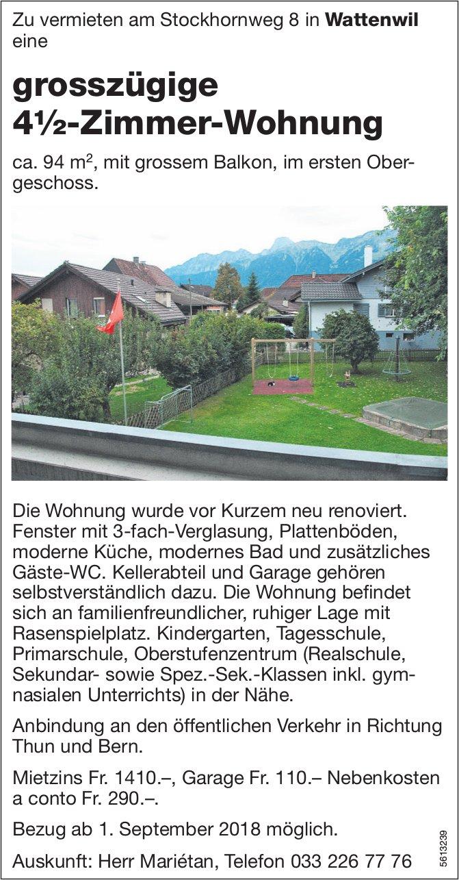 Grosszügige 4½-Zimmer-Wohnung in Wattenwil zu vermieten