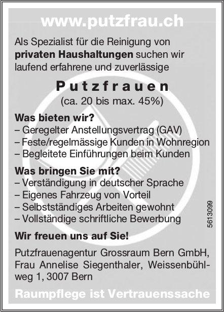 Putzfrauen, Putzfrauenagentur Grossraum Bern GmbH, gesucht