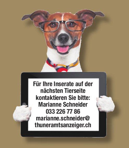 Für Ihre Inserate auf der nächsten Tierseite kontaktieren Sie bitte Marianne Schneider