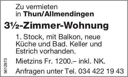 3½-Zimmer-Wohnung in Thun/Allmendingen zu vermieten