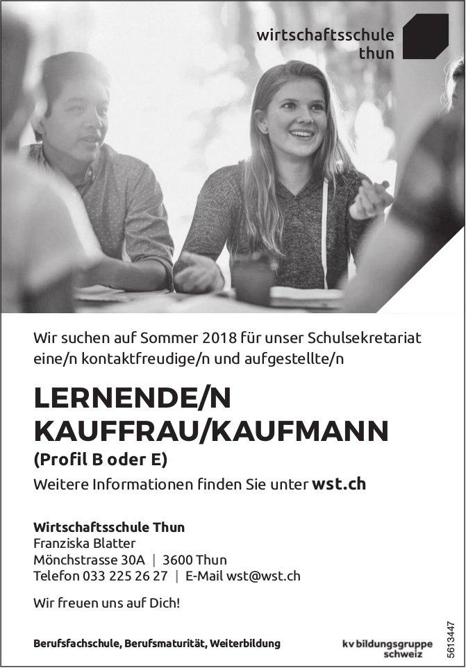 LERNENDE/R KAUFFRAU/KAUFMANN (Profil B oder E), Wirtschaftsschule Thun, gesucht