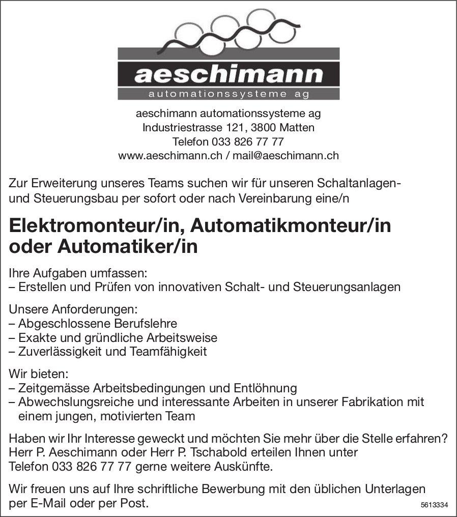 Elektromonteur/in, Automatikmonteur/in oder Automatiker/in, Aeschimann Automationssysteme AG, ges.