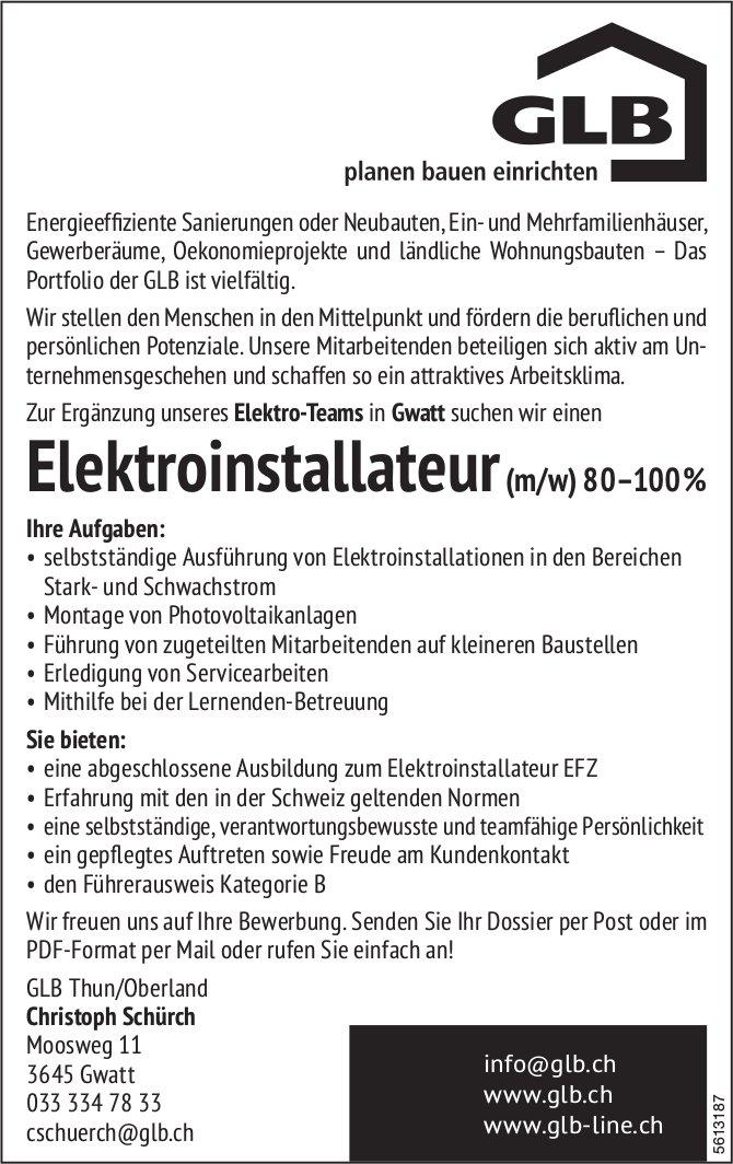 Elektroinstallateur (m/w) 80-100%, GLB Thun/Oberland, Gwatt, gesucht