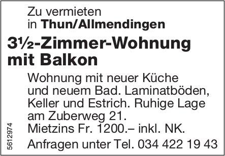 3½-Zimmer-Wohnung mit Balkon in Thun/Allmendingen zu vermieten