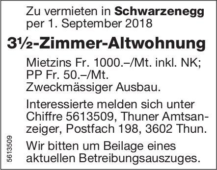 3½-Zimmer-Altwohnung in Schwarzenegg zu vermieten
