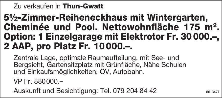 5½-Zimmer-Reiheneckhaus mit Wintergarten in Thun-Gwatt zu verkaufen