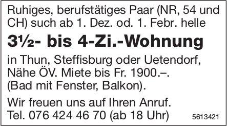3½- bis 4-Zi.-Wohnung in Thun, Steffisburg oder Uetendorf Nähe ÖV gesucht