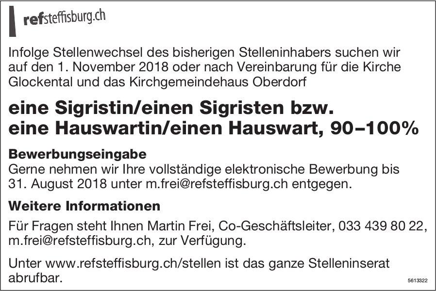 Sigristin/Sigrist bzw. Hauswartin/Hauswart, 90–100%, Steffisburg, gesucht