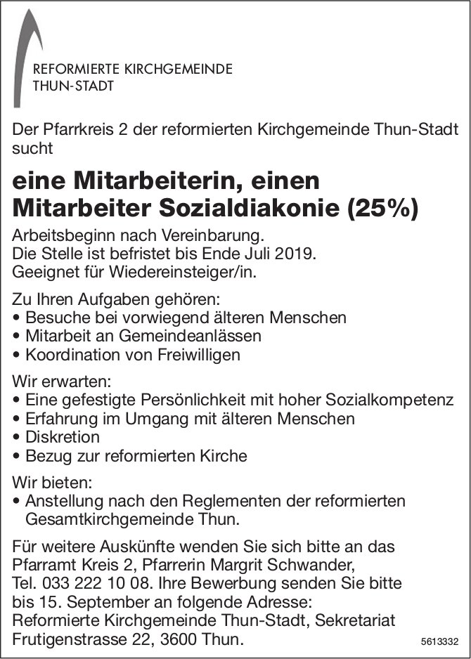 Mitarbeiterin, Mitarbeiter Sozialdiakonie (25%), Reformierte Kirchgemeinde Thun-Stadt, gesucht