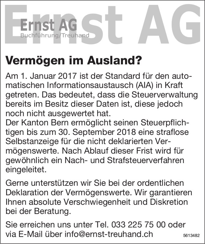 Ernst AG Buchführung/Treuhand - Vermögen im Ausland?
