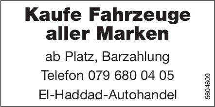 Kaufe Fahrzeuge aller Marken ab Platz, Barzahlung