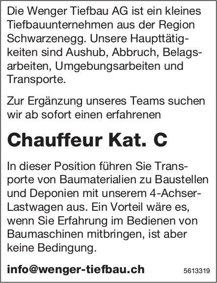 Chauffeur Kat. C, Wenger Tiefbau AG, gesucht