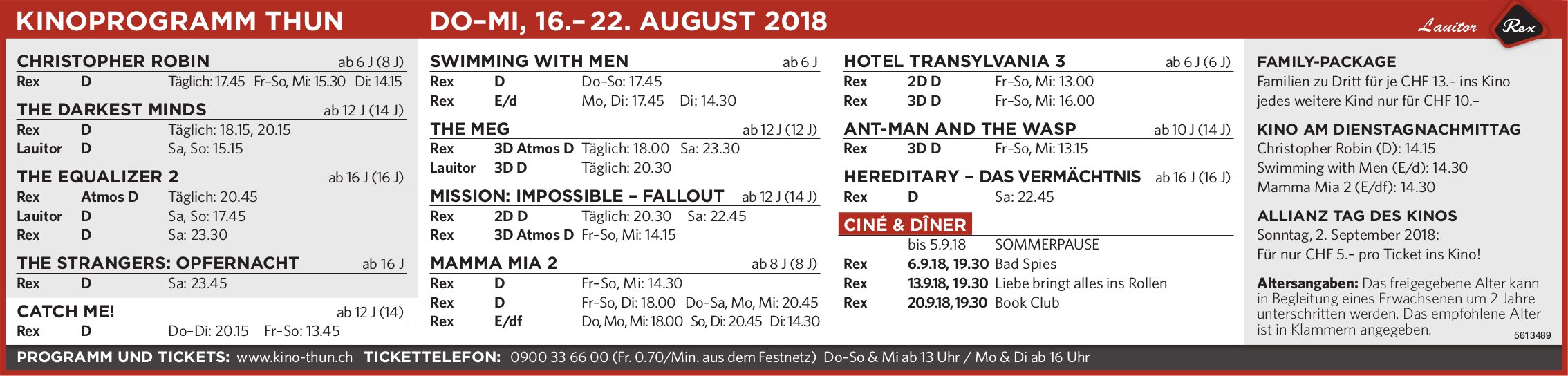KINOPROGRAMM THUN, DO–MI, 16.– 22. AUGUST 2018