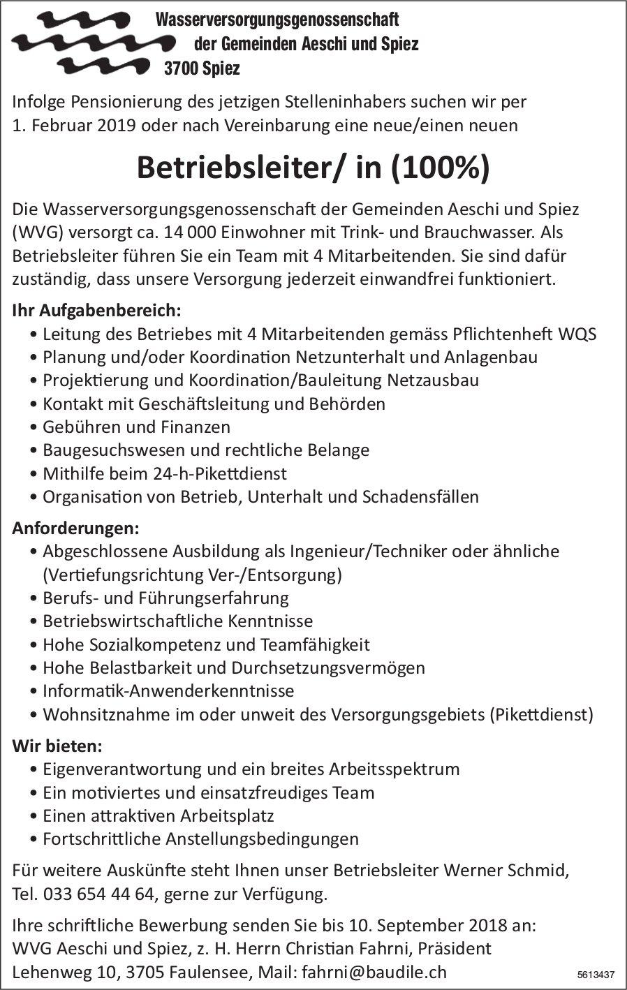 Betriebsleiter/ in (100%), WVG Aeschi und Spiez, gesucht