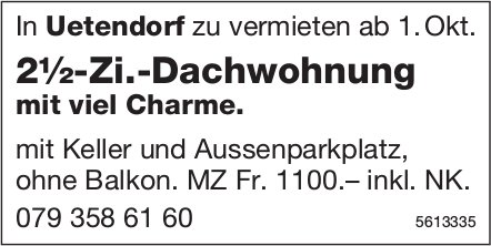 2½-Zi.-Dachwohnung mit viel Charme in Uetendorf zu vermieten