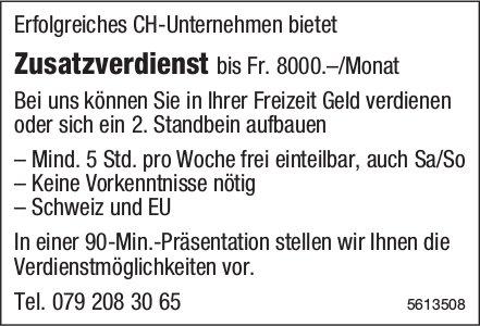 Erfolgreiches CH-Unternehmen bietet Zusatzverdienst bis Fr. 8000.–/Monat