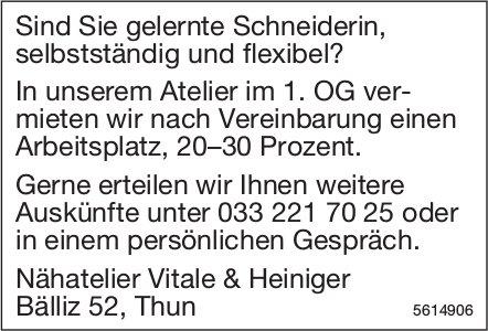 Schneiderin bei Nähatelier Vitale & Heiniger gesucht