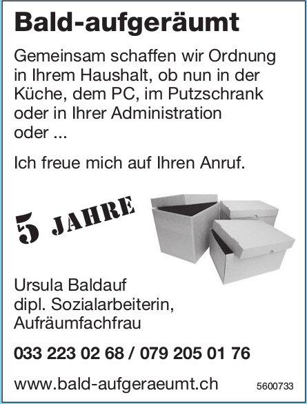 Ursula Baldauf dipl. Sozialarbeiterin, Aufräumfachfrau - Bald-aufgeräumt