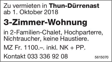 3-Zimmer-Wohnung in Thun-Dürrenast zu vermieten