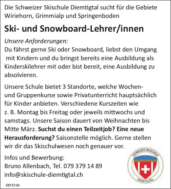Ski- und Snowboard-Lehrer/innen bei Schweizer Skischule Diemtigtal gesucht