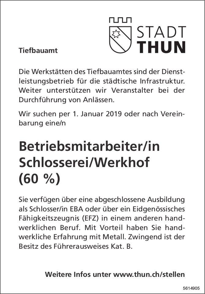 Betriebsmitarbeiter/in Schlosserei/Werkhof (60 %) bei Werkstätten des Tiefbauamtes Thun gesucht