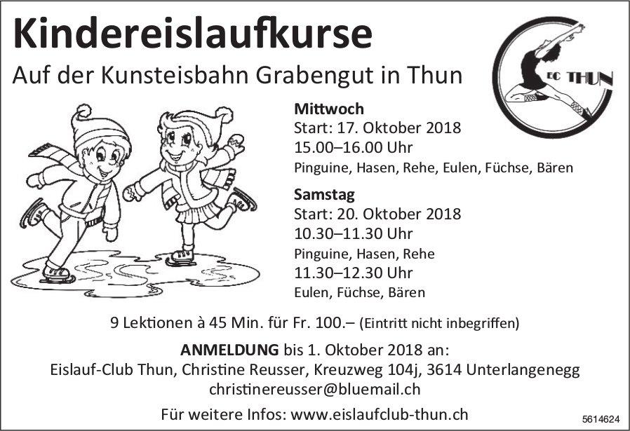 Kindereislaufkurse auf der Kunsteisbahn Grabengut in Thun ab 17. Oktober