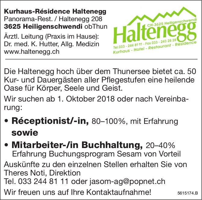 Réceptionist/-in sowie Mitarbeiter-/in Buchhaltung, 20–40% bei Kurhaus-Résidence Haltenegg gesucht