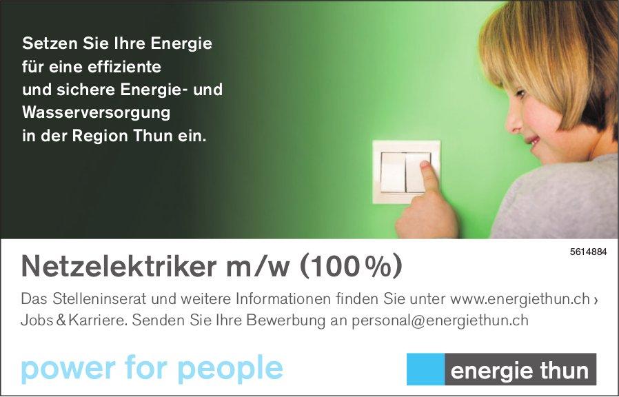 Netzelektriker m/w (100 %) bei Energie Thun gesucht