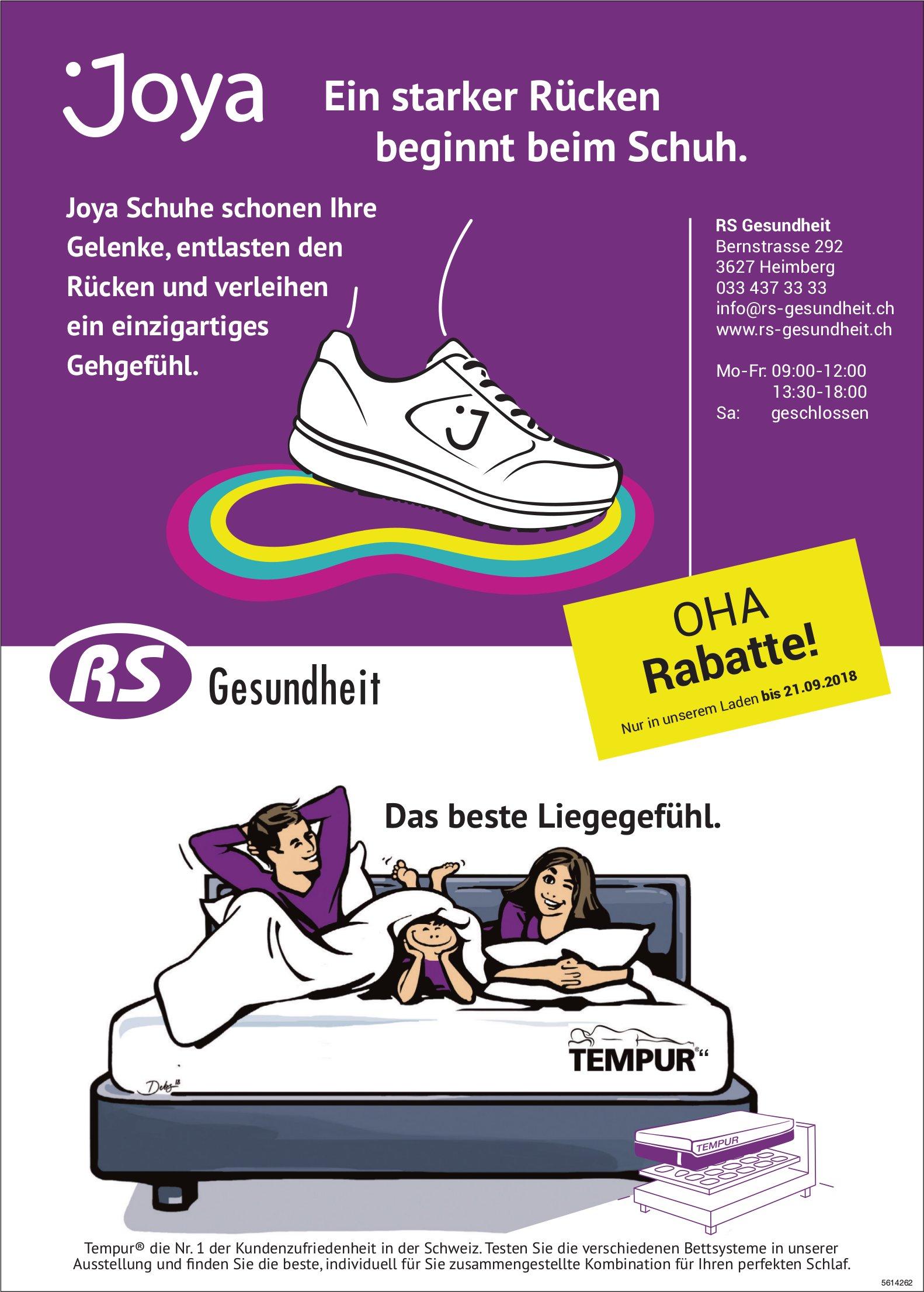 RS Gesundheit, Heimberg - Joya, ein starker Rücken beginnt beim Schuh.