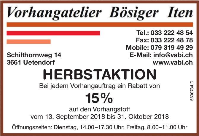 Vorhangatelier Bösiger Iten - HERBSTAKTION: Rabatt 15% auf den Vorhangstoff bis 31. Okt.