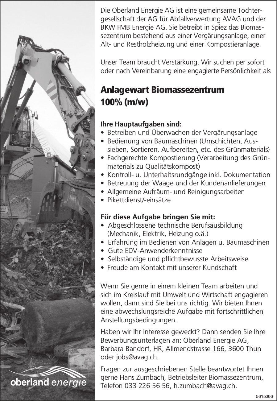 Anlagewart Biomassezentrum 100% (m/w) bei Oberland Energie AG gesucht