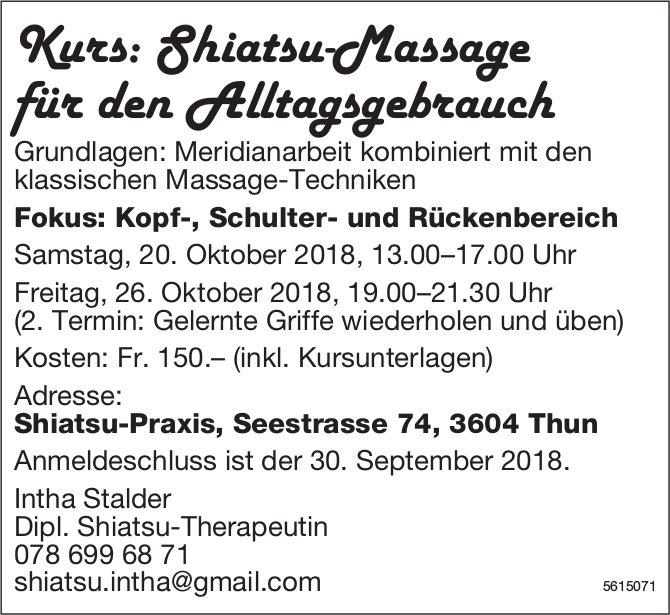 Shiatsu-Praxis - Kurs: Shiatsu-Massage für den Alltagsgebrauch am 20. + 26. Okt.