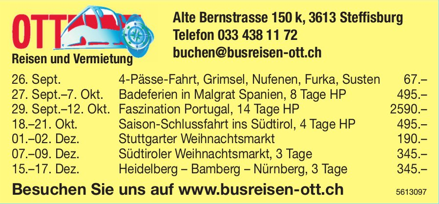 OTT Reisen und Vermietung - Programm & Events
