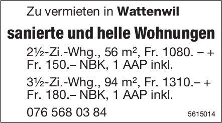 Sanierte und helle Wohnungen in Wattenwil zu vermieten