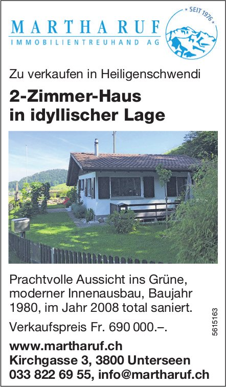 2-Zimmer-Haus in idyllischer Lage in Heiligenschwendi zu verkaufen