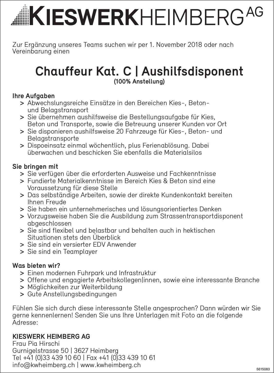 Chauffeur Kat. C/ Aushilfsdisponent bei KIESWERK HEIMBERG AG gesucht