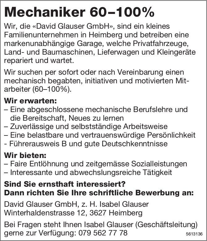 Mechaniker 60–100% bei David Glauser GmbH gesucht