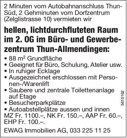 Lichtdurchfluteten Raum im 2. OG im Büro- und Gewerbezentrum Thun-Allmendingen zu vermieten