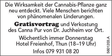 Gratisvortrag und Verkostung des Canna Pur von Dr. Juchheim vor Ort.