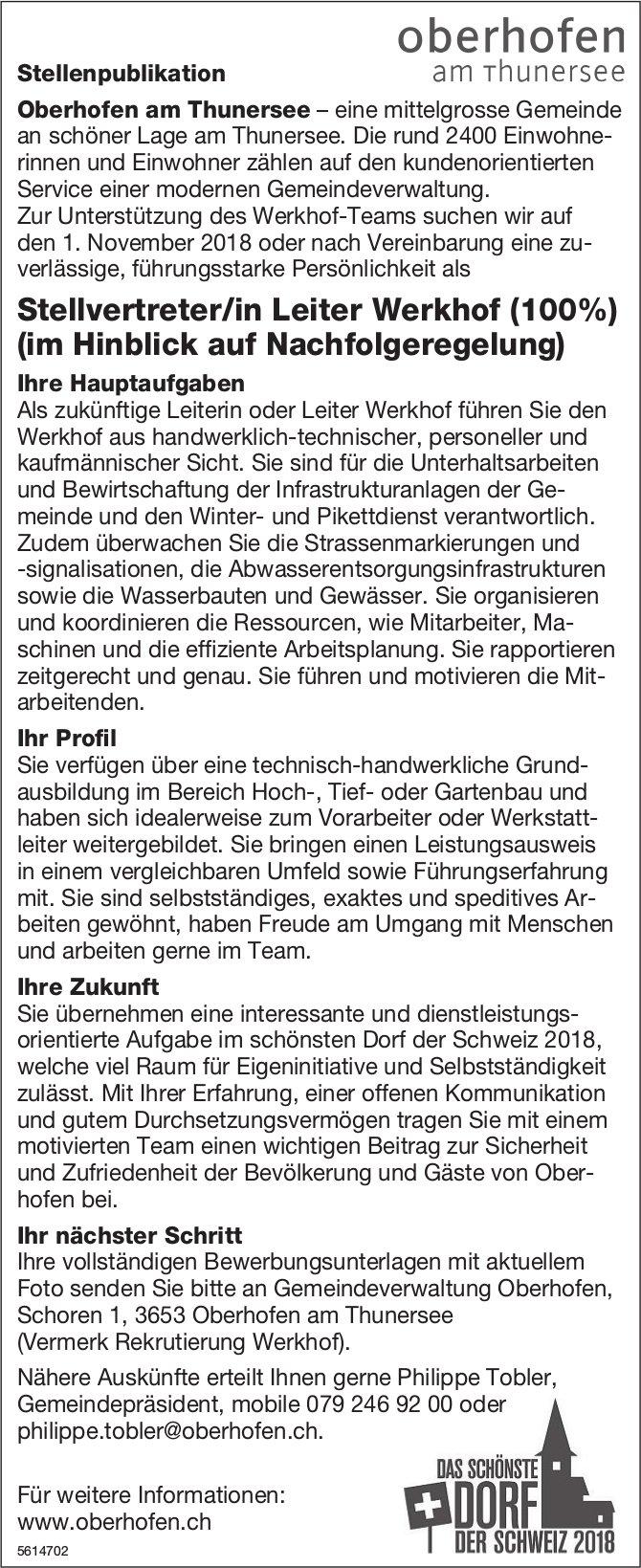 Stellvertreter/in Leiter Werkhof (100%) bei Gemeinde Oberhofen am Thunersee gesucht
