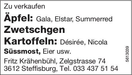 Äpfel, Zwetschgen, Kartoffeln, Süssmost, Eier usw. zu verkaufen - Fritz Krähenbühl
