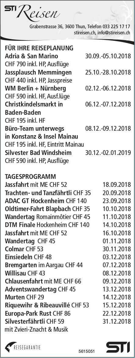 STI Reisen - Programm & Events