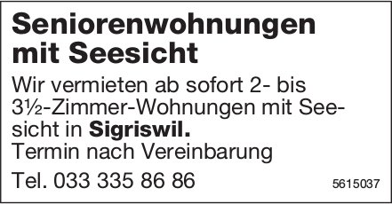 3.5Zimmer Seniorenwohnungen mit Seesicht in Sigriswil zu vermieten