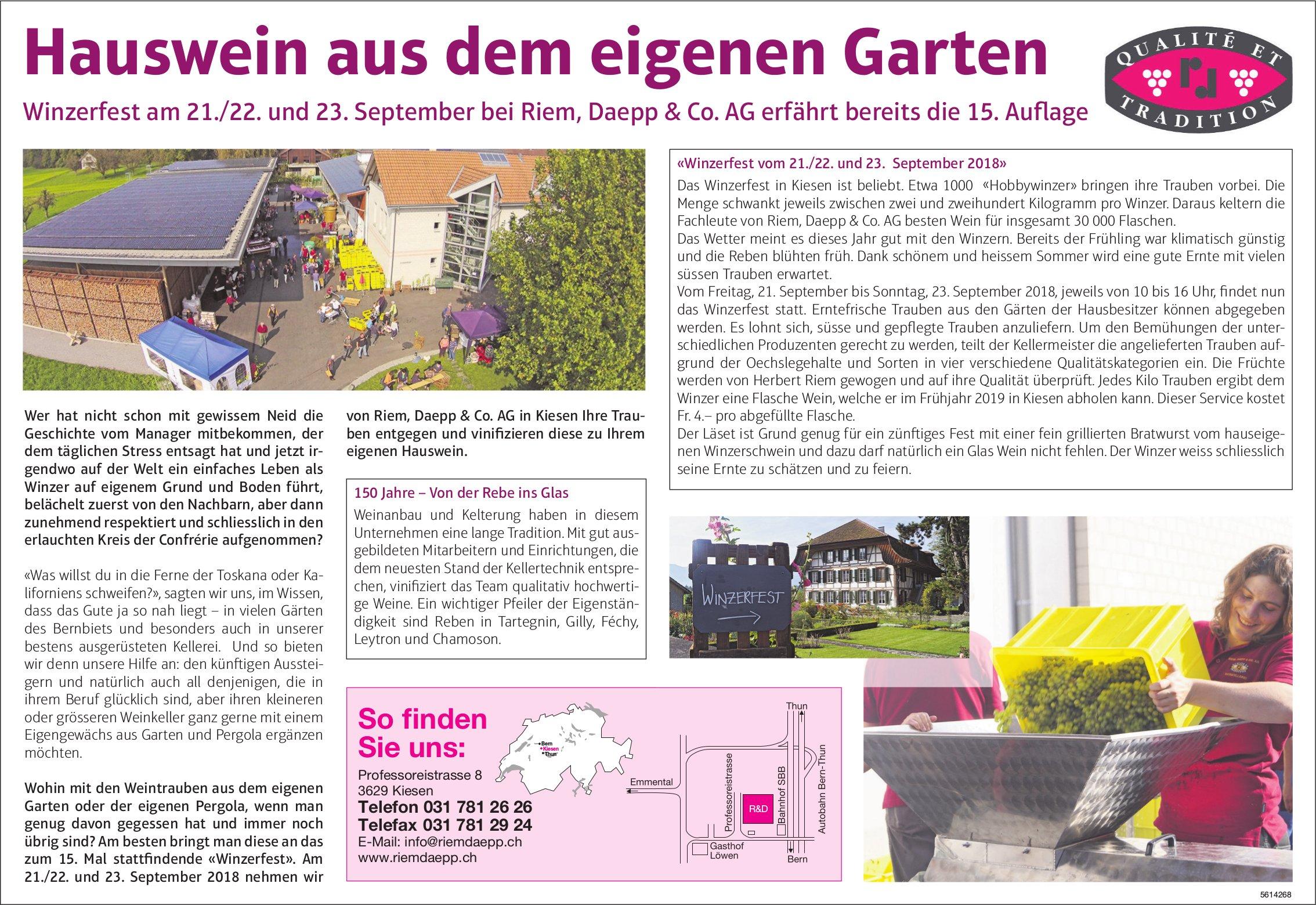 Hauswein aus dem eigenen Garten - Winzerfest am 21./22. 23. September bei Riem, Daepp & Co. AG