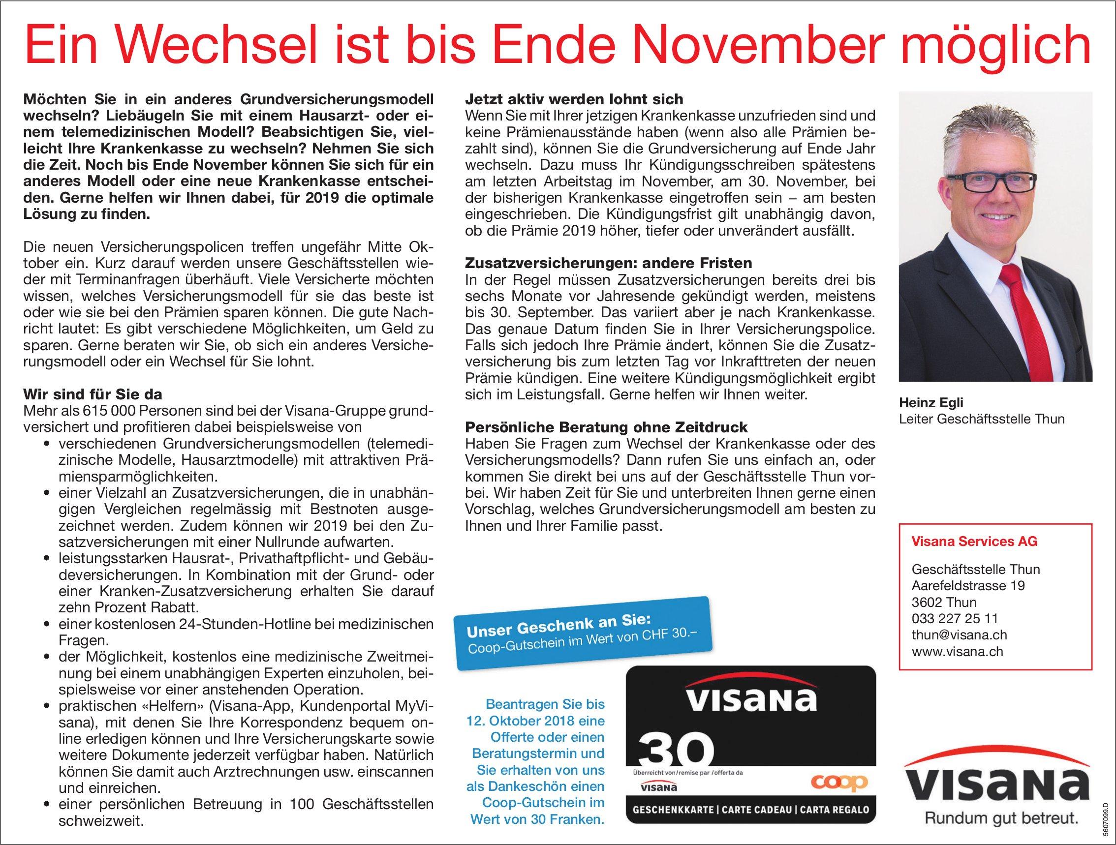 Visana Services AG - Ein Wechsel ist bis Ende November möglich