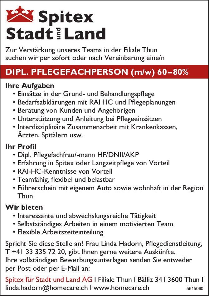 DIPL. PFLEGEFACHPERSON (m/w) 60–80% bei Spitex für Stadt und Land AG gesucht
