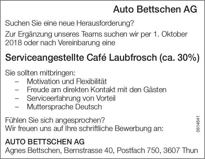 Serviceangestellte Café Laubfrosch (ca. 30%) bei Auto Bettschen AG gesucht