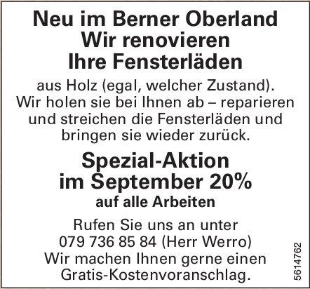 Neu im Berner Oberland wir renovieren Ihre Fensterläde: Spezial-Aktion im Sept 20% auf alle Arbeiten