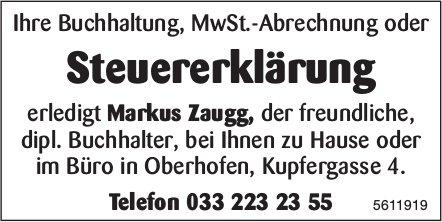 Markus Zaugg, Oberhofen - Steuererklärung bei Ihnen zu Hause oder im Büro